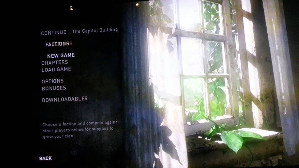 the last of us - menu screen