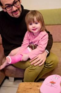 Juliette et sa chaussette rose