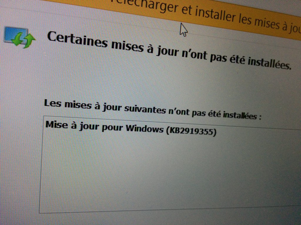 Windows 8.1 update 1 - erreur d'installation