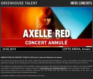 Axelle Red, concert annulé