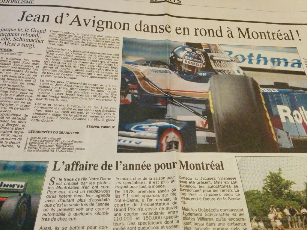 La première victoire de Jean Alesi au Canada...