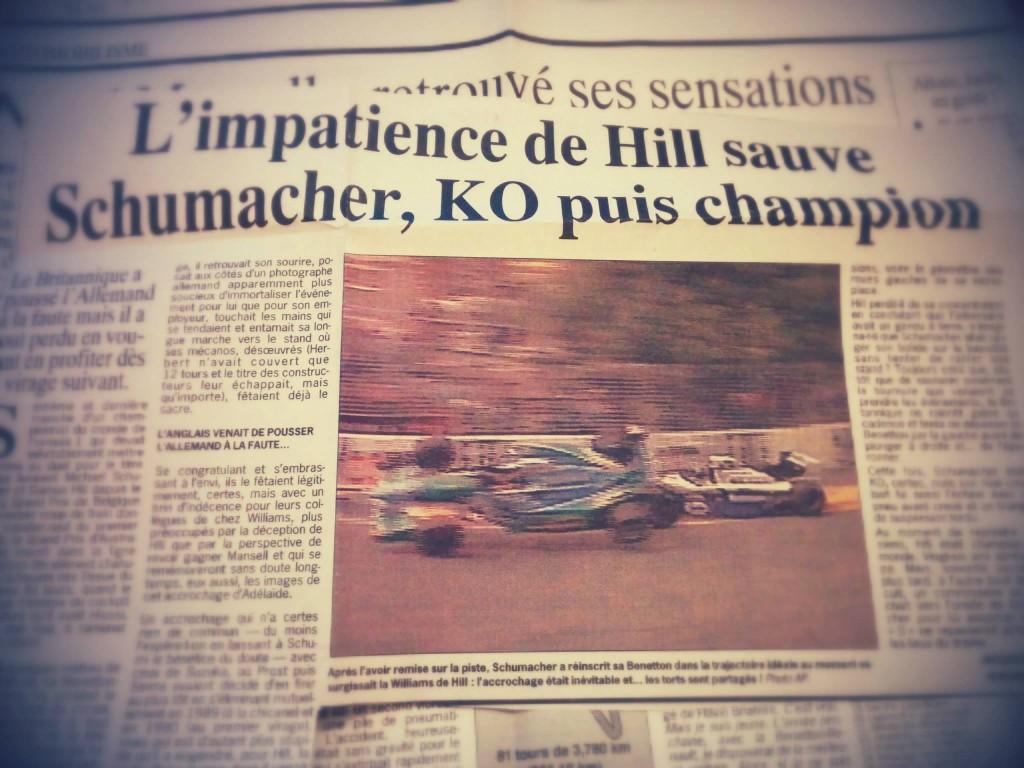 La fin du duel Hill / Schumacher en 94, explosif !