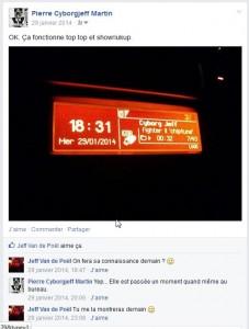 Facebook - Cyborg Jeff sur l'Autoradio de la Peugeot