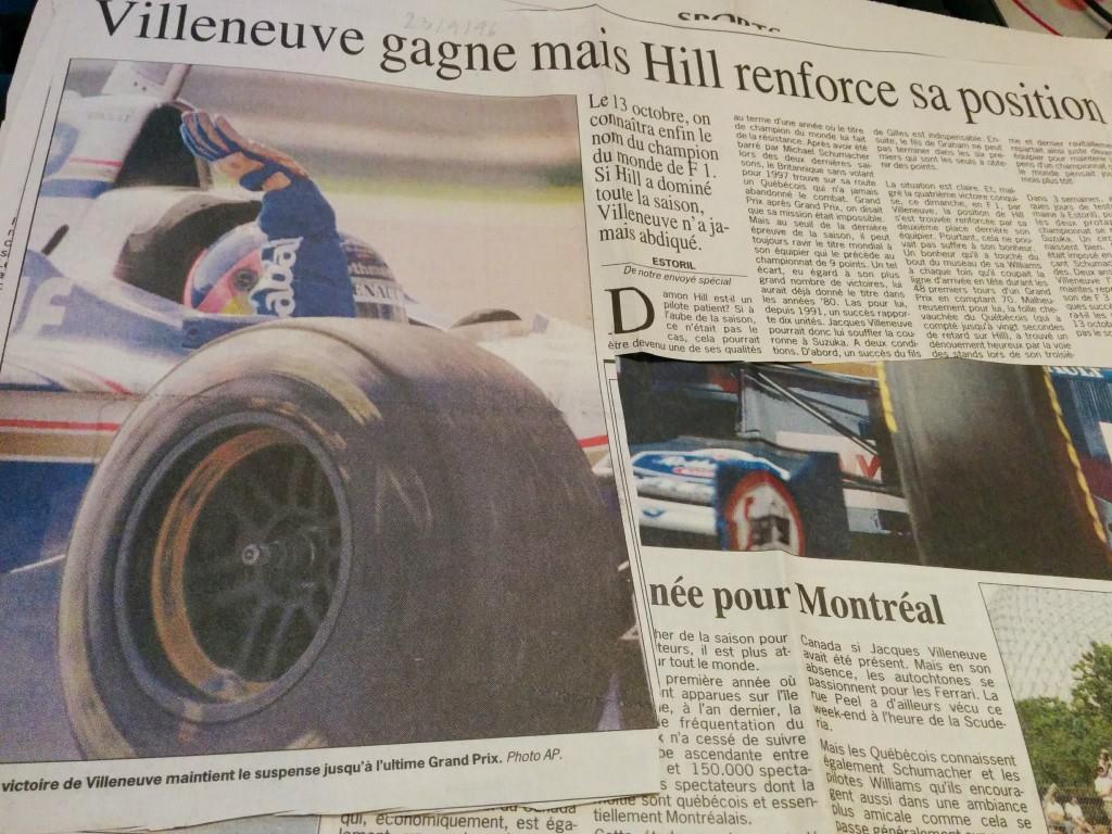 Journal Le Soir - Victoire Jacques Villeneuve - Septembre 1996