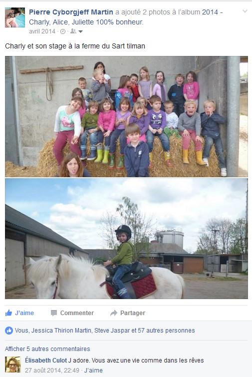 Facebook - avril 2014 - stage ferme du sart tilman