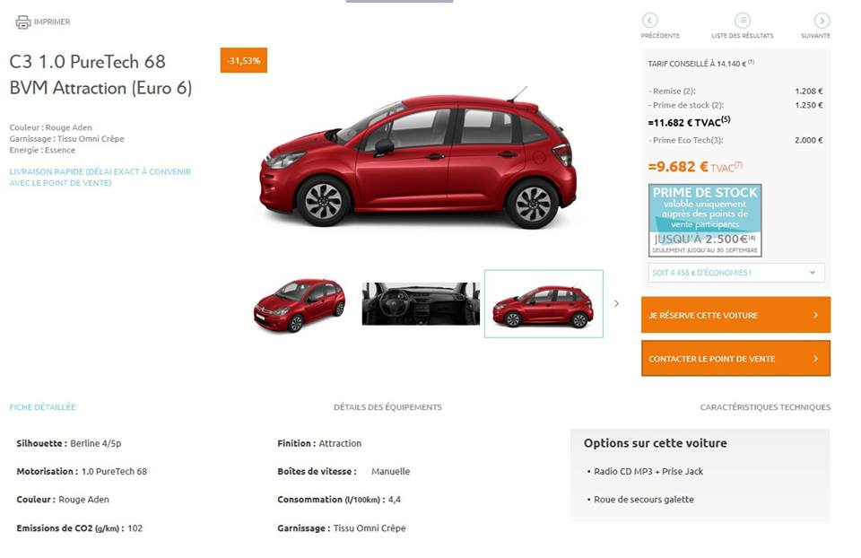 Citroen C3 - destockage 2016
