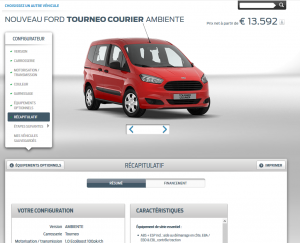 Ford Tourneo Courrier - Configurateur 2016