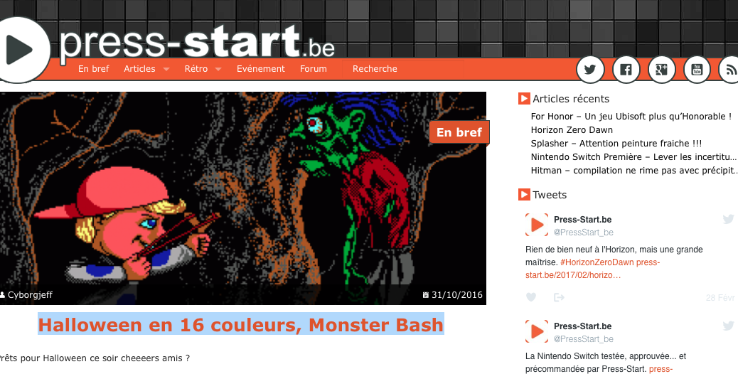 Monster Bash, article sur Press Start