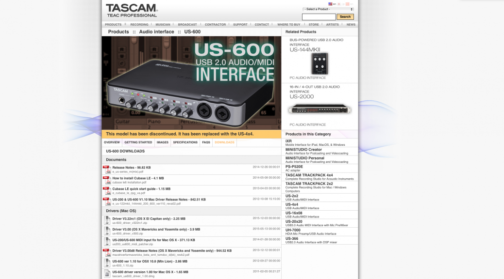 Tascam US-600 USB Audio