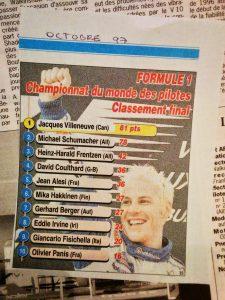 Journal Le Soir - Championnat F1 - 1997 - Jacques Villeneuve