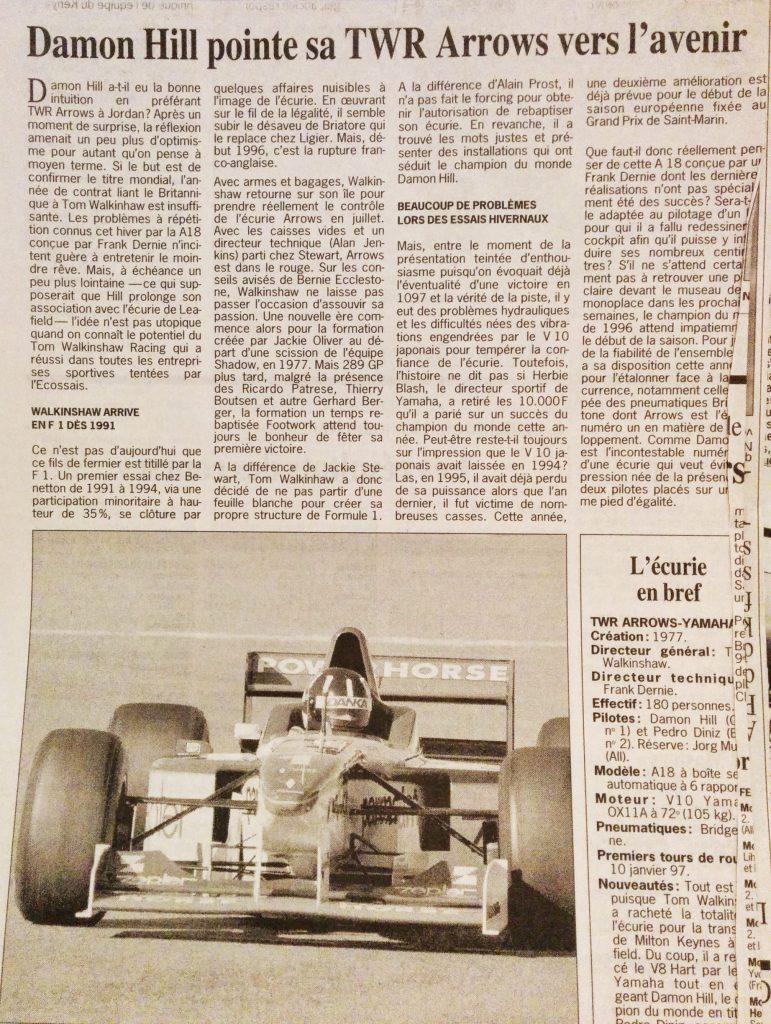 Journal Le Soir - F1 - Décembre 1996 - Présentation - Arrows Yamaha - Damon Hill