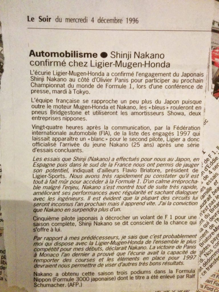 Journal Le Soir - Prost GP - 1997 - Shinji Nakano
