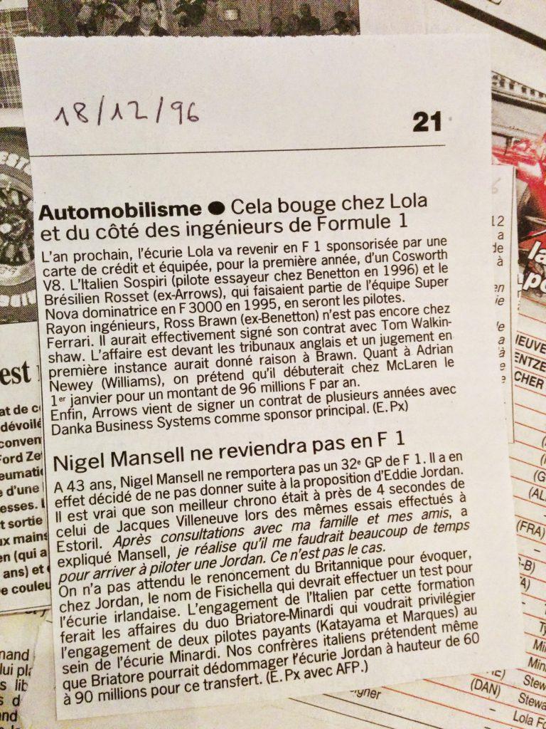 Journal Le Soir - Potins - Formule 1 - Lola - Nigel Mansell