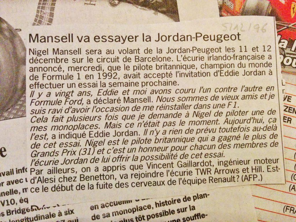 Journal Le Soir - F1 - Jordan Peugeot - Nigel Mansell