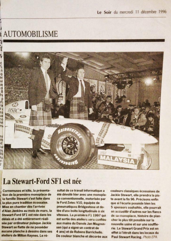 Journal Le Soir - Décembre 1996 - Présentation - Formule 1 - Stewart GP