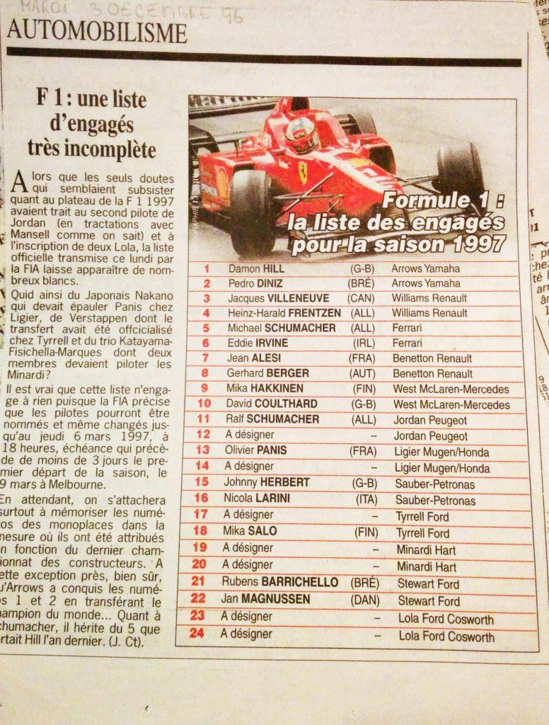 Journal Le Soir - Ecurie F1 - 1997