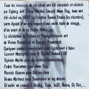 Page de remerciement de la première édition de Divagation, 1997