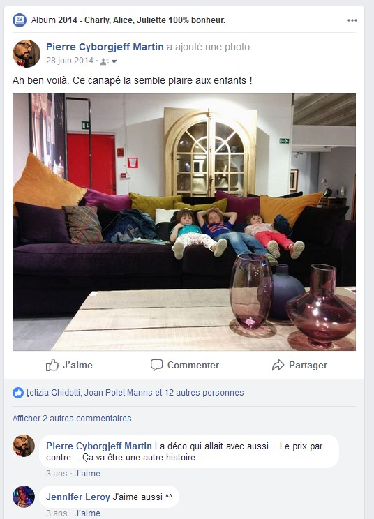 Facebook - Juin 2014 - Canapé Eykens