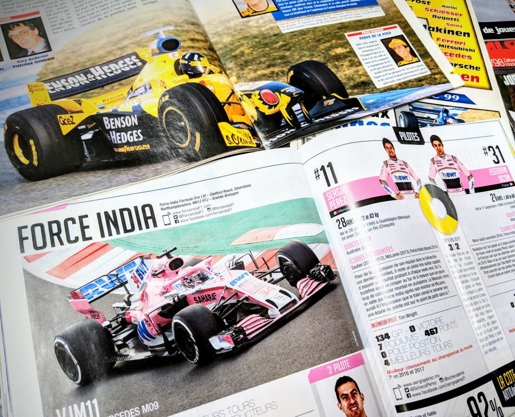 La Jordan Mugen Honda de Damon Hill de 1998 devenue la Force India Mercedes de Sergio Perez en 2018