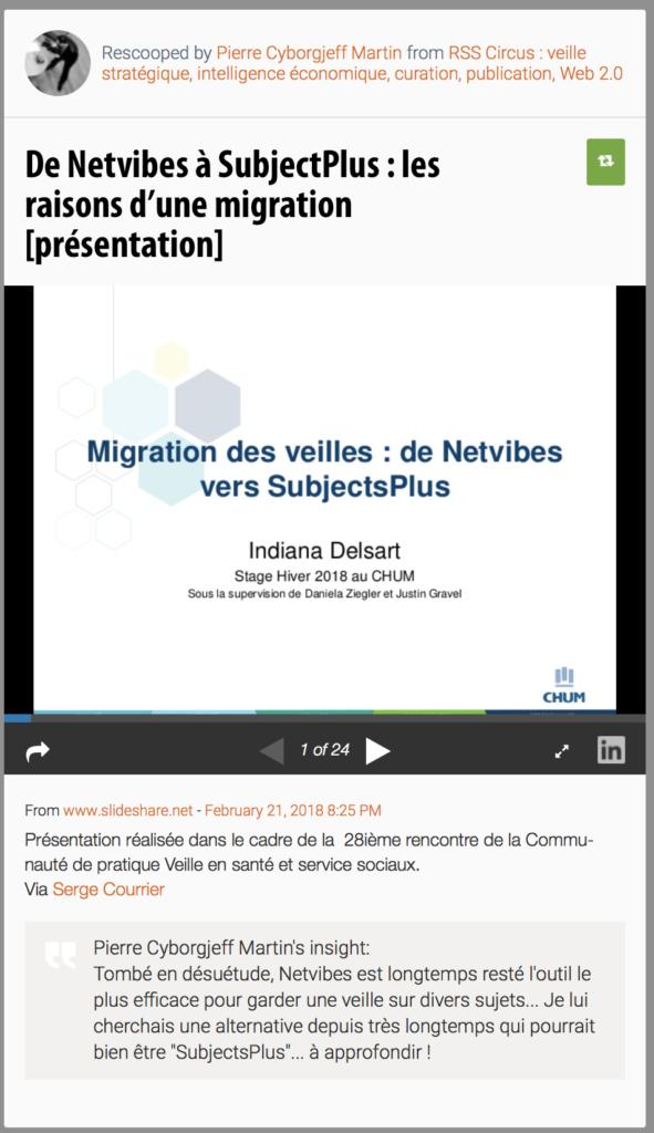 De Netvibes à SubjectPlus : les raisons d'une migration
