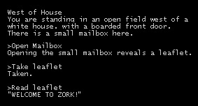sample text from the adventure game zork player responses follow a single angle bracket