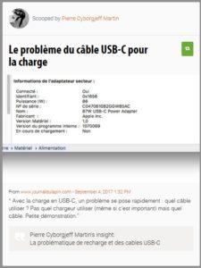 Le problème du câble USB-C pour la charge