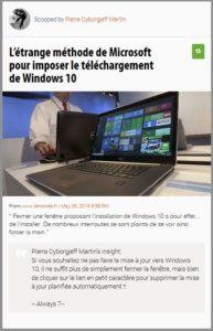 L'étrange méthode de Microsoft pour imposer le téléchargement de Windows 10