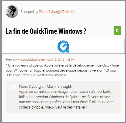 La fin de QuickTime Windows ?