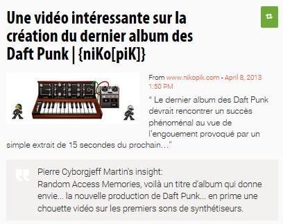 Une vidéo intéressante sur la création du dernier album des Daft Punk | {niKo[piK]}