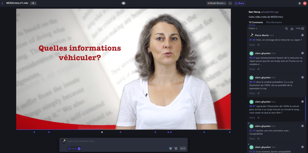 Frame.io - montage du MOOC