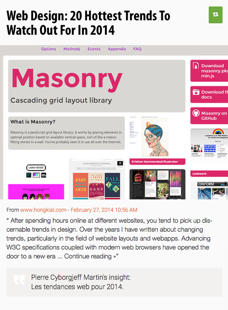 Les galléries Masonry, la tendance 2014