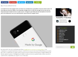Google Pixel 2 : le mode Portrait est désormais accessible à tous les smartphones Android