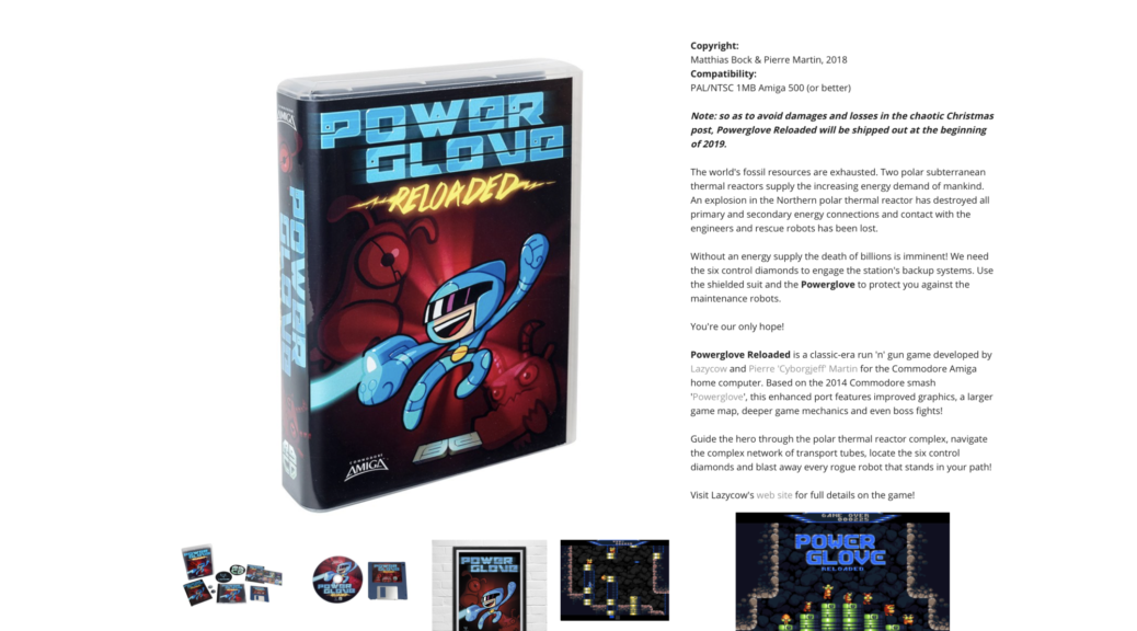 Edition physique de Power Glove sur Amiga.