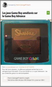 Les jeux Game Boy améliorés sur le Game Boy Advance