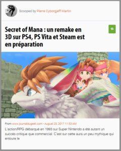 Secret of Mana : un remake en 3D sur PS4, PS Vita et Steam est en préparation