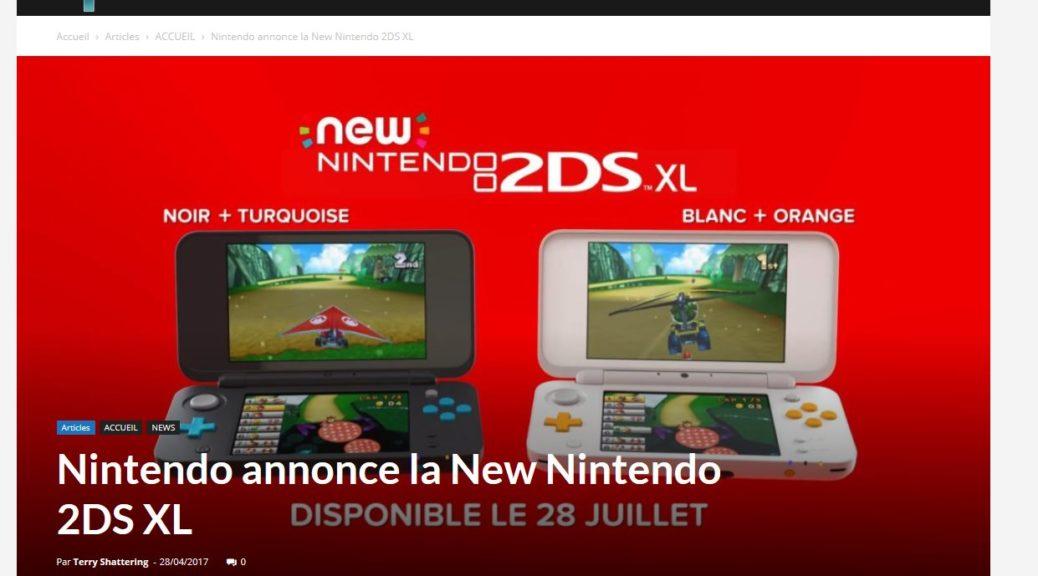 Nintendo annonce la New Nintendo 2DS XL