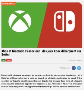 Xbox et Nintendo s'associent : des jeux Xbox débarquent sur Switch