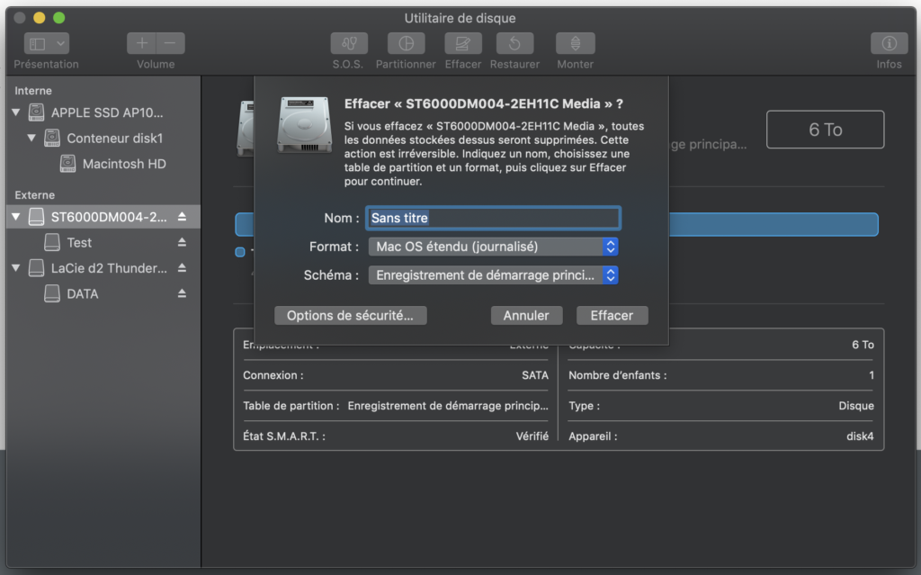 Formater un disque Lacie sous Mac OSX