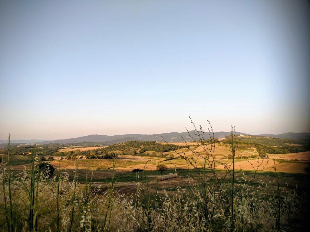 Premier panorama toscan depuis la Casa Verniano