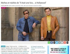 """Mythes et réalités de """"Il était une fois... à Hollywood"""" - Découpé de la La Libre du 14 aout 2019"""