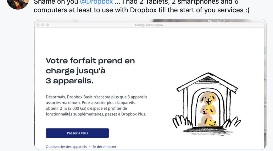 Dropbox nouveaux tarifs