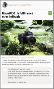 Nikon D750 : le Full Frame à écran inclinable