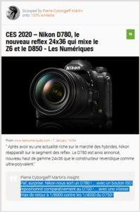 Nikon D780, le nouveau reflex 24x36 qui mixe le Z6 et le D850