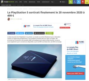 La PlayStation 5 sortirait finalement le 20 novembre 2020 à 499 €