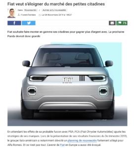Fiat veut s'éloigner du marché des petites citadines