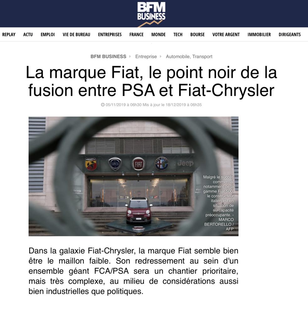 La marque Fiat, le point noir de la fusion entre PSA et Fiat-Chrysler?