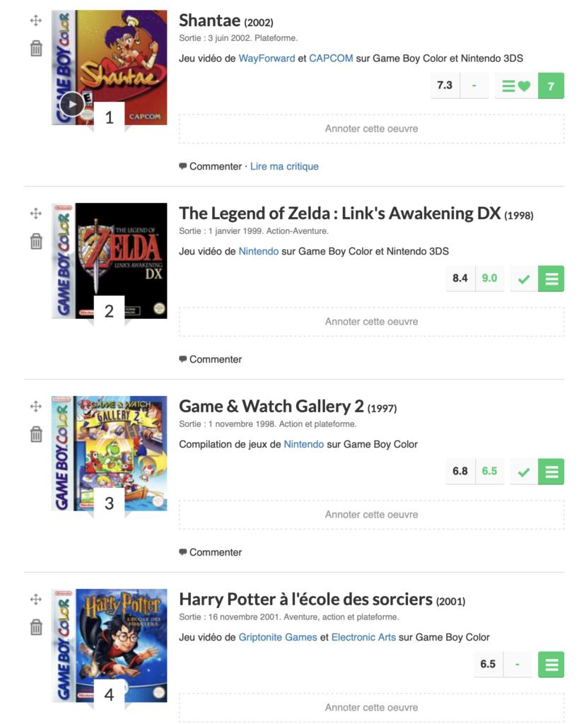 Les meilleurs jeux de la Game Boy Color selon cyborgjeff