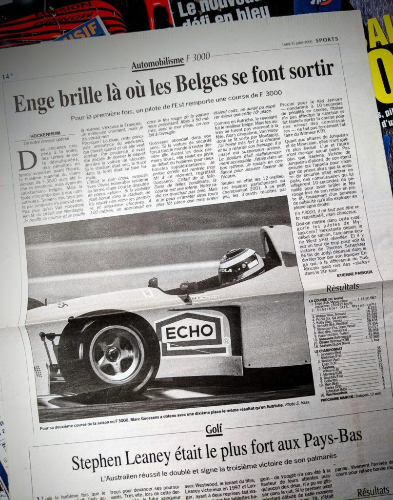 L'actu F3000 des petits belges aux portes de la F1 - Le Soir, 2000