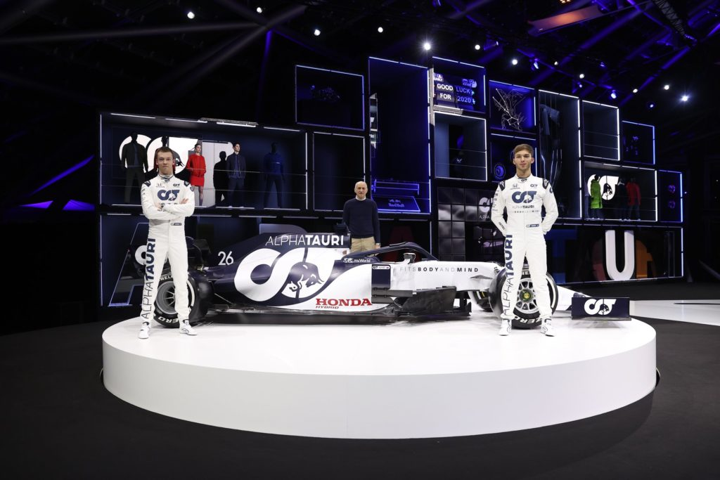 La nouvelle Alphatauri Honda du français Pierre Gasly et du russe Daniil Kvyat