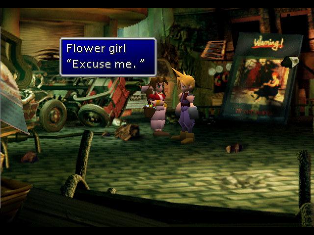 Cloud rencontre la vendeuse de fleurs au début de l'aventure, FFVII, 1997
